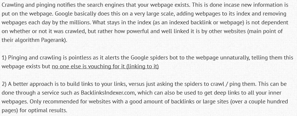 Linking Pinging and webpage Crawling